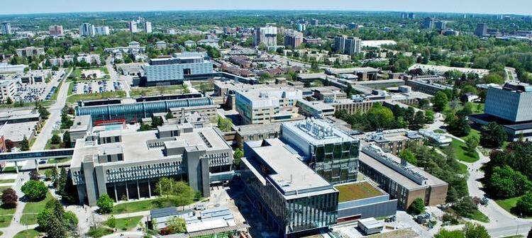 Aerial view of the University of Waterloo campus.
