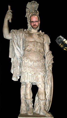 Roman Mars' face superimposed on a Roman statue of Mars, with a microphone